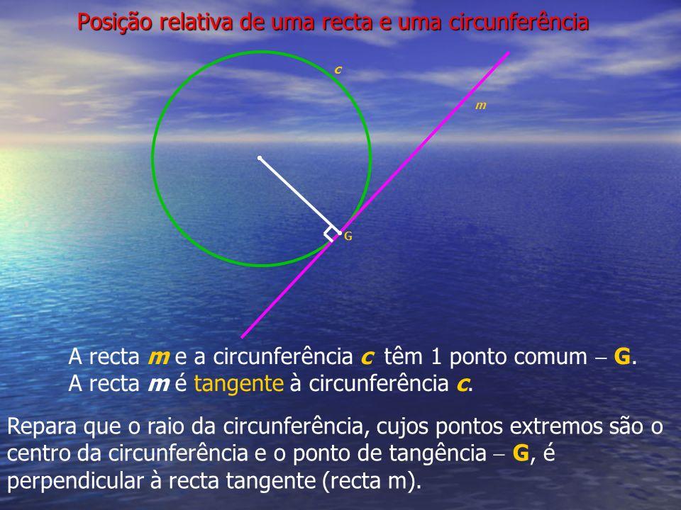 Posição relativa de uma recta e uma circunferência