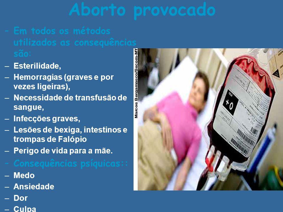 Aborto provocado Em todos os métodos utilizados as consequências são: