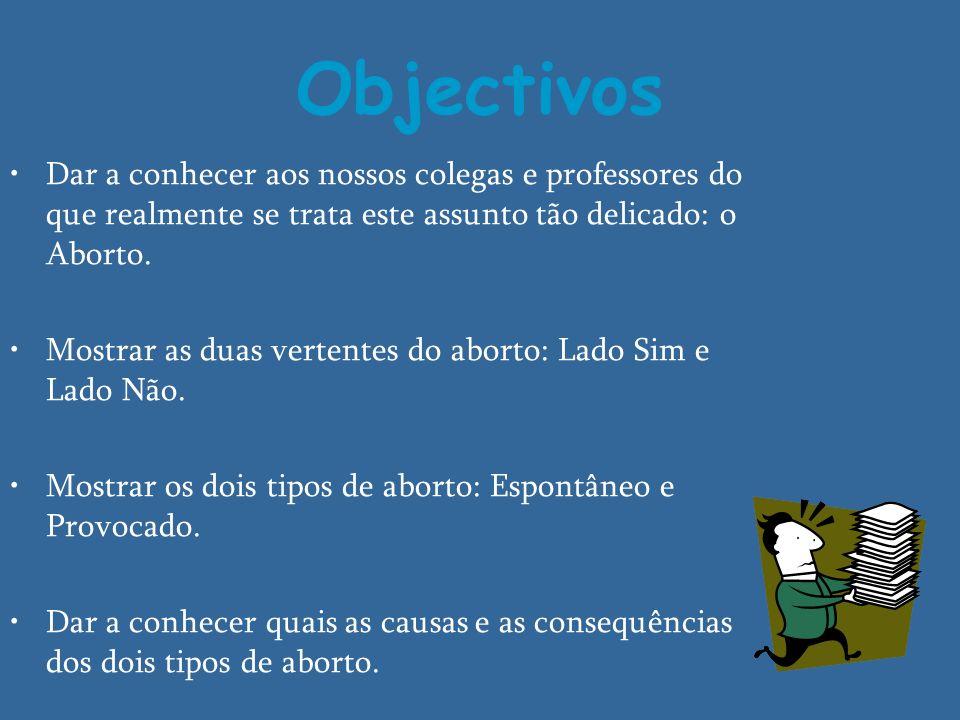 Objectivos Dar a conhecer aos nossos colegas e professores do que realmente se trata este assunto tão delicado: o Aborto.