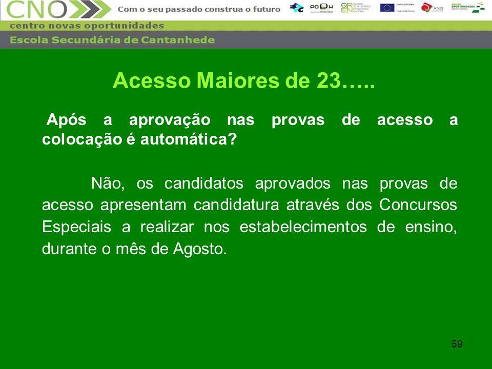 Acesso Maiores de 23….. Após a aprovação nas provas de acesso a colocação é automática