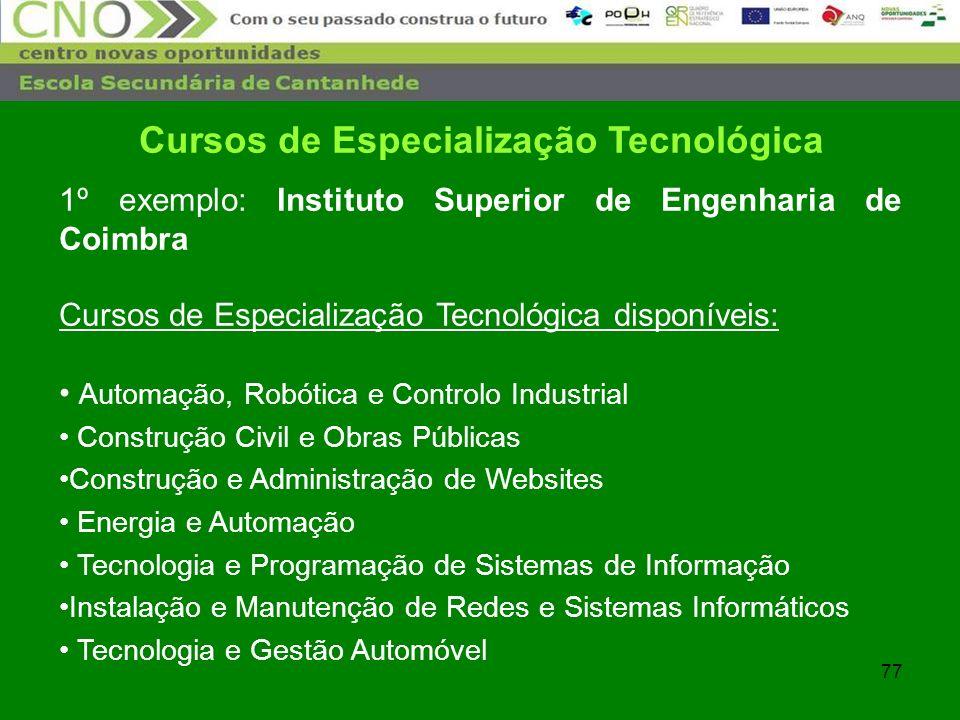 Cursos de Especialização Tecnológica