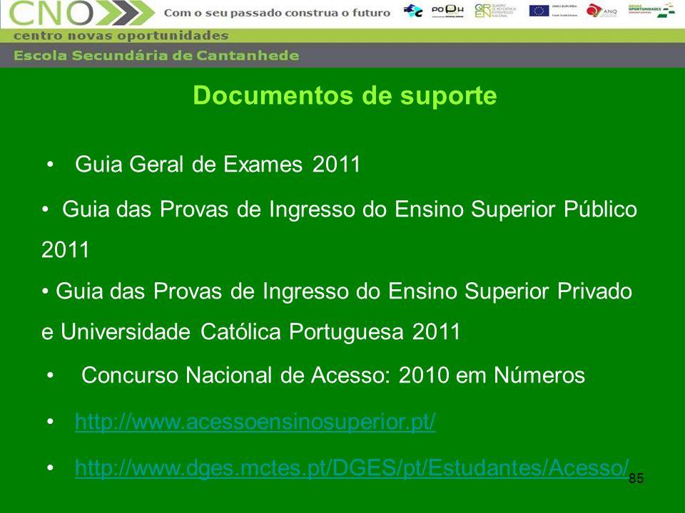 Documentos de suporte Guia Geral de Exames 2011