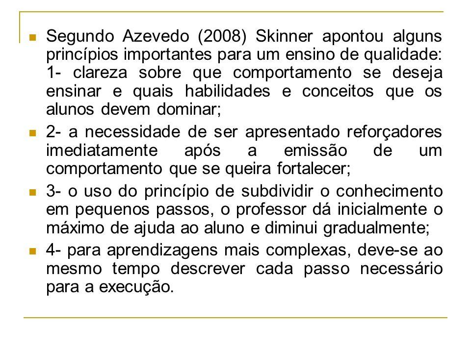 Segundo Azevedo (2008) Skinner apontou alguns princípios importantes para um ensino de qualidade: 1- clareza sobre que comportamento se deseja ensinar e quais habilidades e conceitos que os alunos devem dominar;