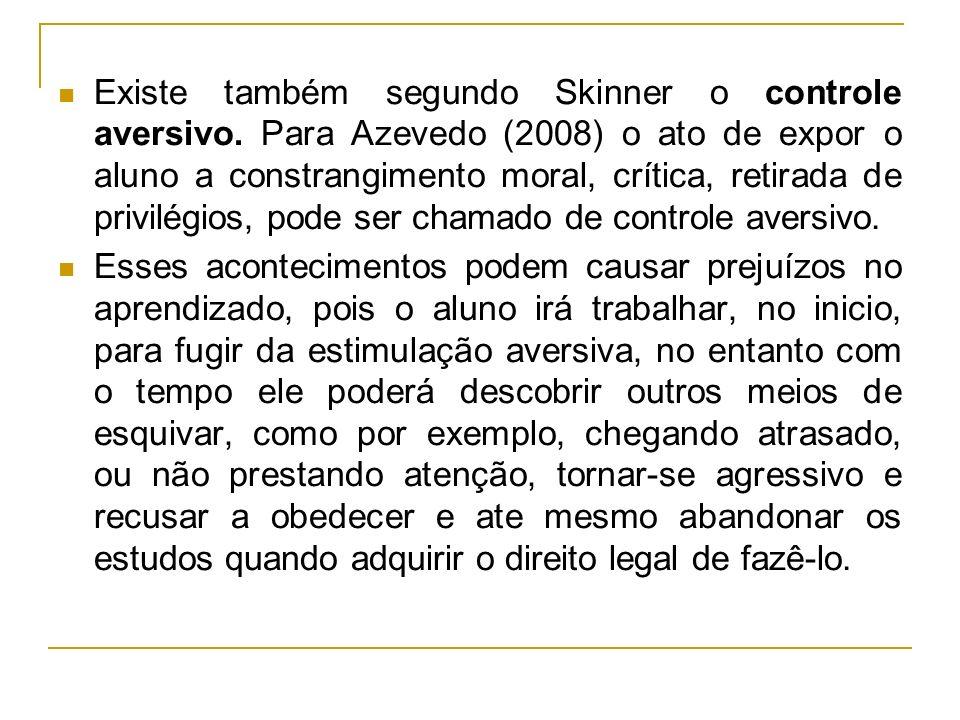 Existe também segundo Skinner o controle aversivo
