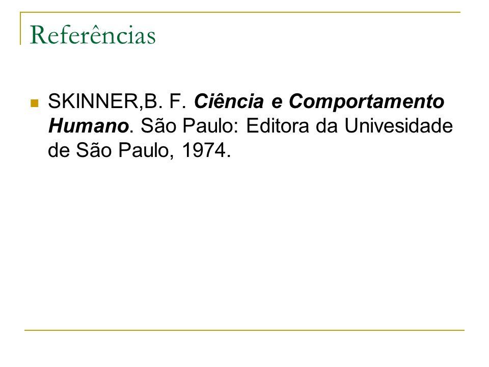 Referências SKINNER,B. F. Ciência e Comportamento Humano.