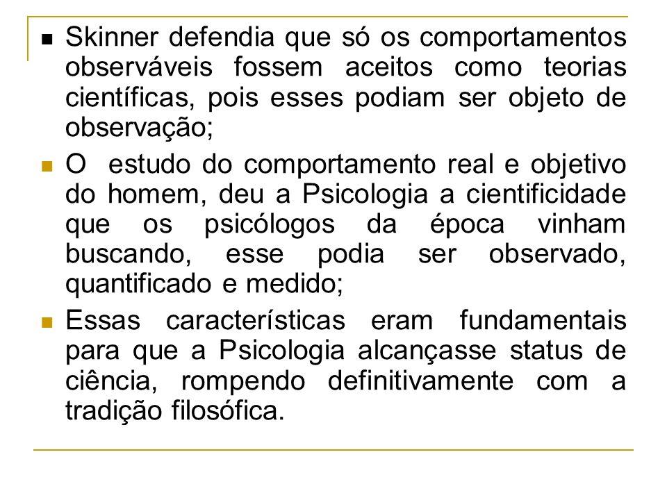 Skinner defendia que só os comportamentos observáveis fossem aceitos como teorias científicas, pois esses podiam ser objeto de observação;