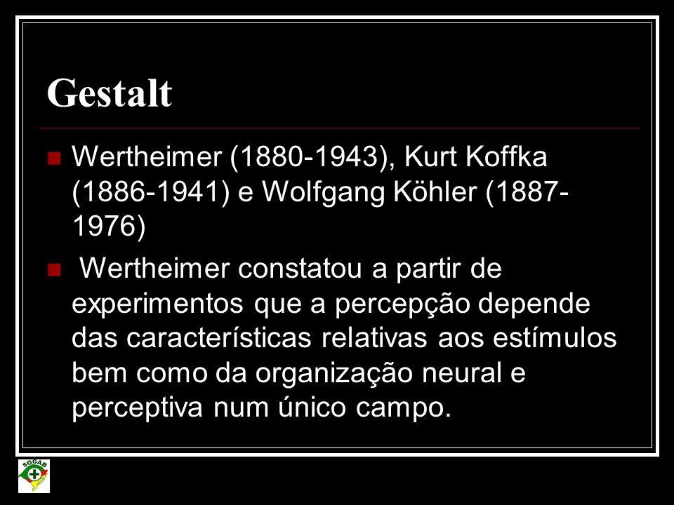 Gestalt Wertheimer (1880-1943), Kurt Koffka (1886-1941) e Wolfgang Köhler (1887-1976)