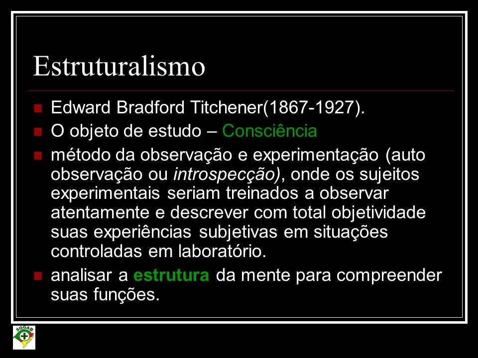 Estruturalismo Edward Bradford Titchener(1867-1927).