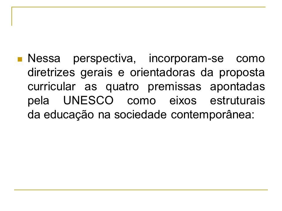 Nessa perspectiva, incorporam-se como diretrizes gerais e orientadoras da proposta curricular as quatro premissas apontadas pela UNESCO como eixos estruturais da educação na sociedade contemporânea: