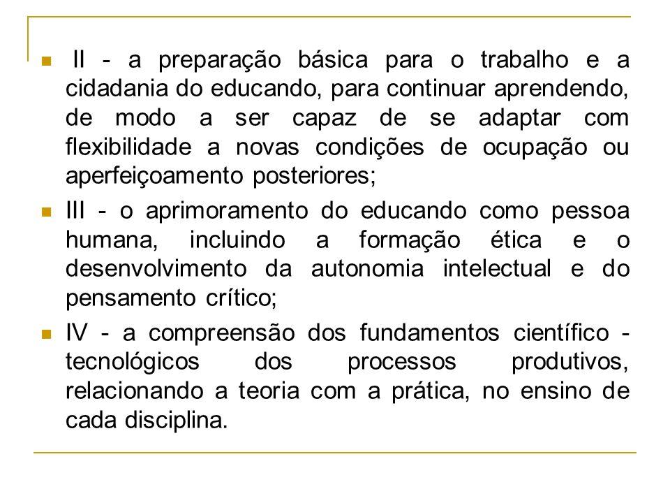 II - a preparação básica para o trabalho e a cidadania do educando, para continuar aprendendo, de modo a ser capaz de se adaptar com flexibilidade a novas condições de ocupação ou aperfeiçoamento posteriores;