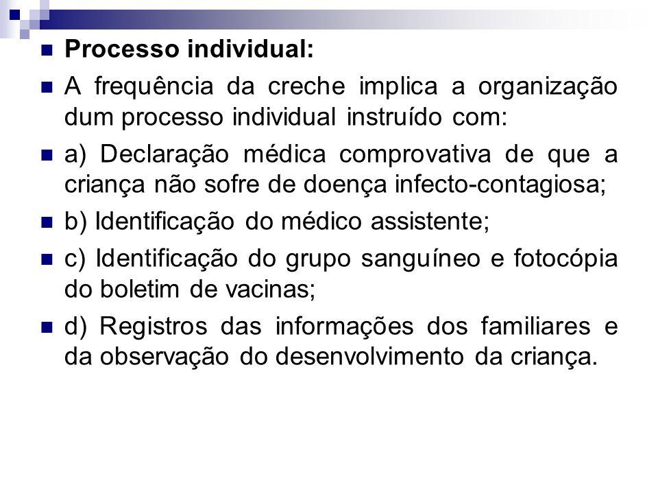 Processo individual: A frequência da creche implica a organização dum processo individual instruído com: