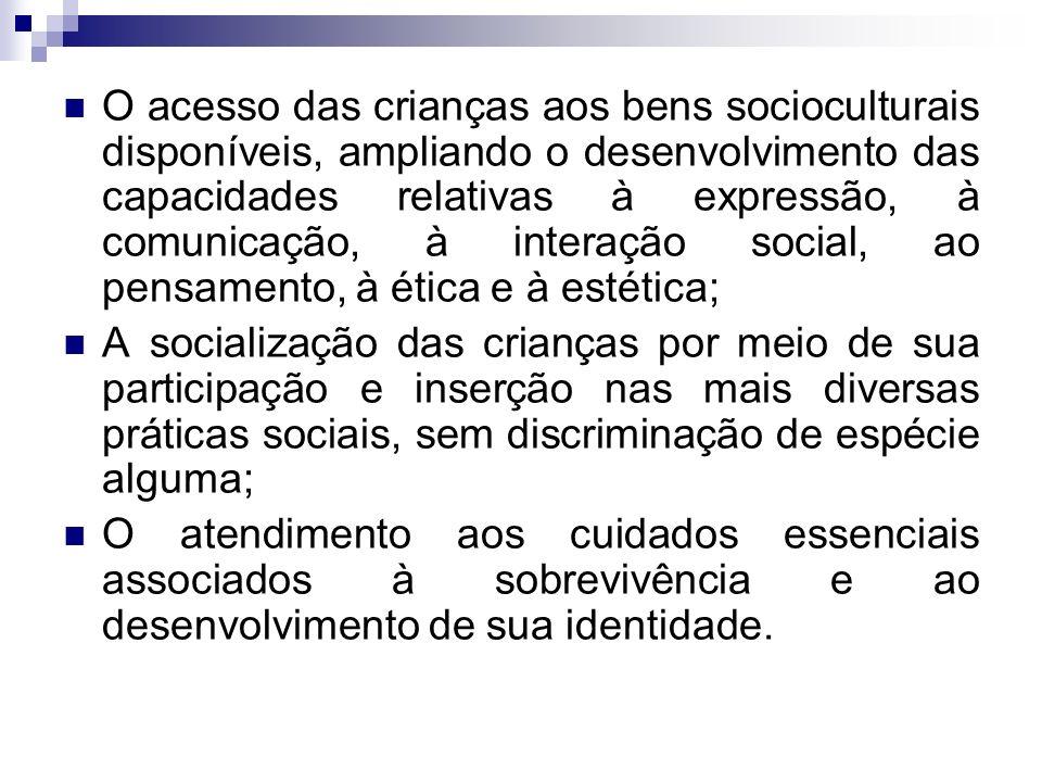 O acesso das crianças aos bens socioculturais disponíveis, ampliando o desenvolvimento das capacidades relativas à expressão, à comunicação, à interação social, ao pensamento, à ética e à estética;
