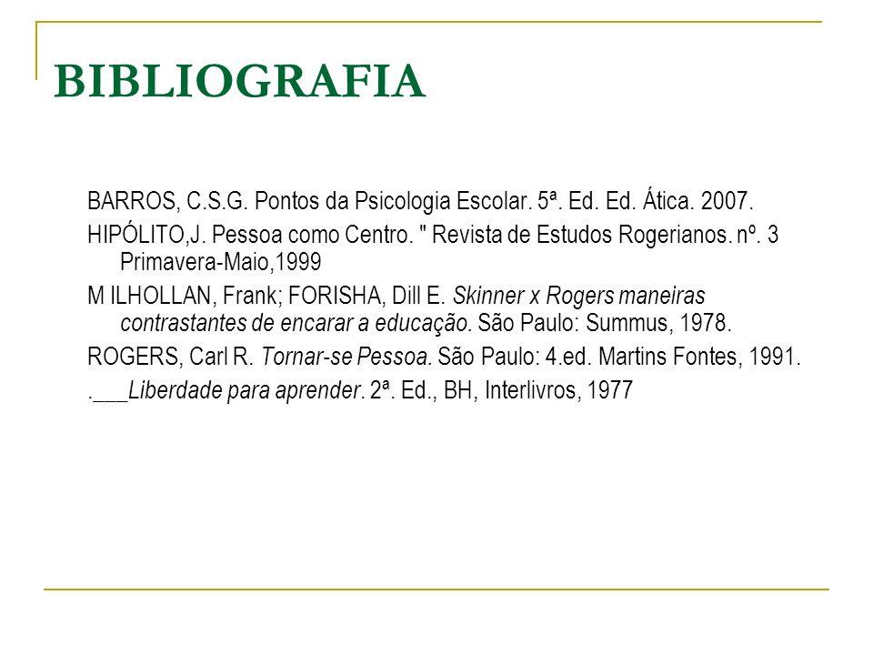BIBLIOGRAFIA BARROS, C.S.G. Pontos da Psicologia Escolar. 5ª. Ed. Ed. Ática. 2007.