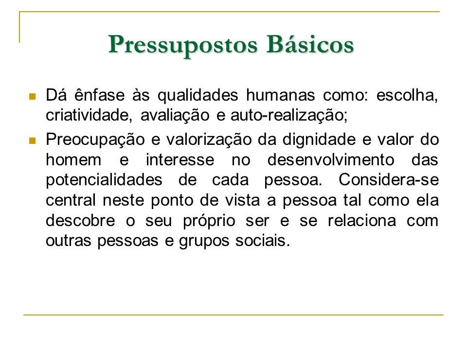 Pressupostos Básicos Dá ênfase às qualidades humanas como: escolha, criatividade, avaliação e auto-realização;