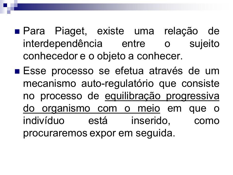 Para Piaget, existe uma relação de interdependência entre o sujeito conhecedor e o objeto a conhecer.