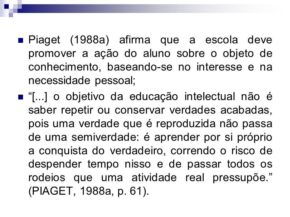Piaget (1988a) afirma que a escola deve promover a ação do aluno sobre o objeto de conhecimento, baseando-se no interesse e na necessidade pessoal;