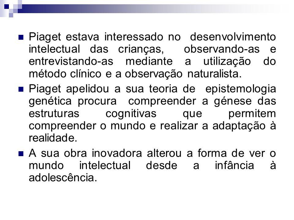 Piaget estava interessado no desenvolvimento intelectual das crianças, observando-as e entrevistando-as mediante a utilização do método clínico e a observação naturalista.