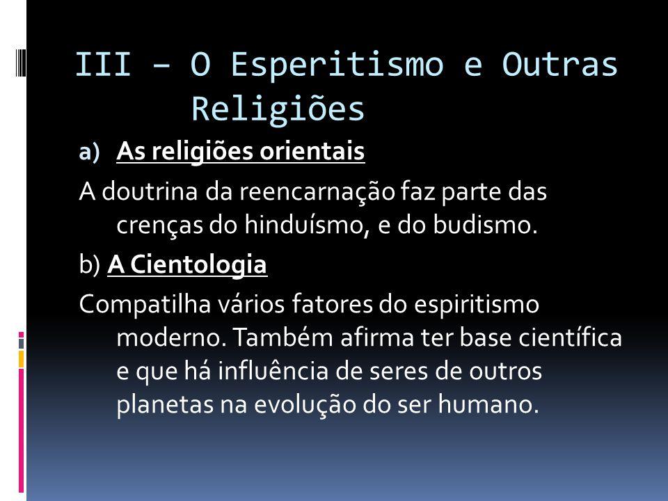 III – O Esperitismo e Outras Religiões