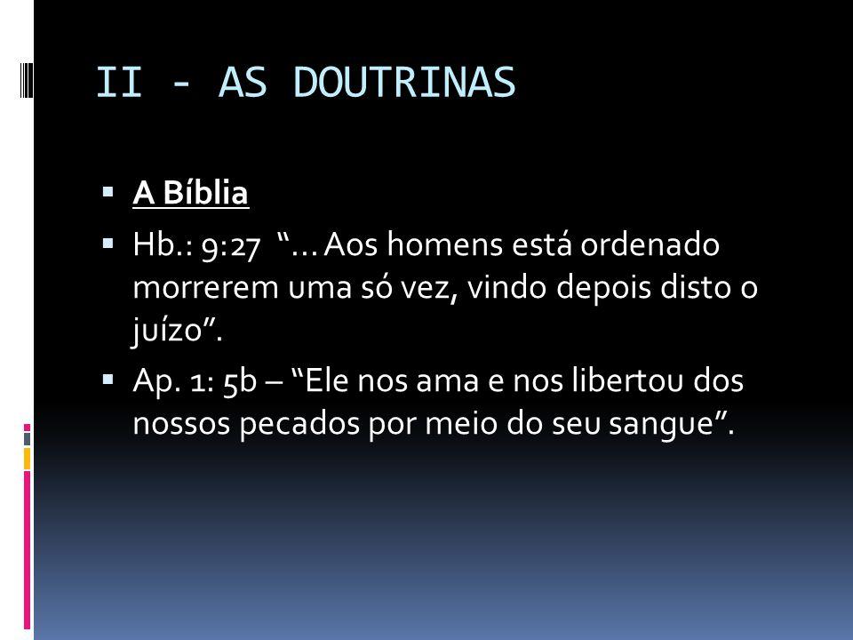 II - AS DOUTRINAS A Bíblia