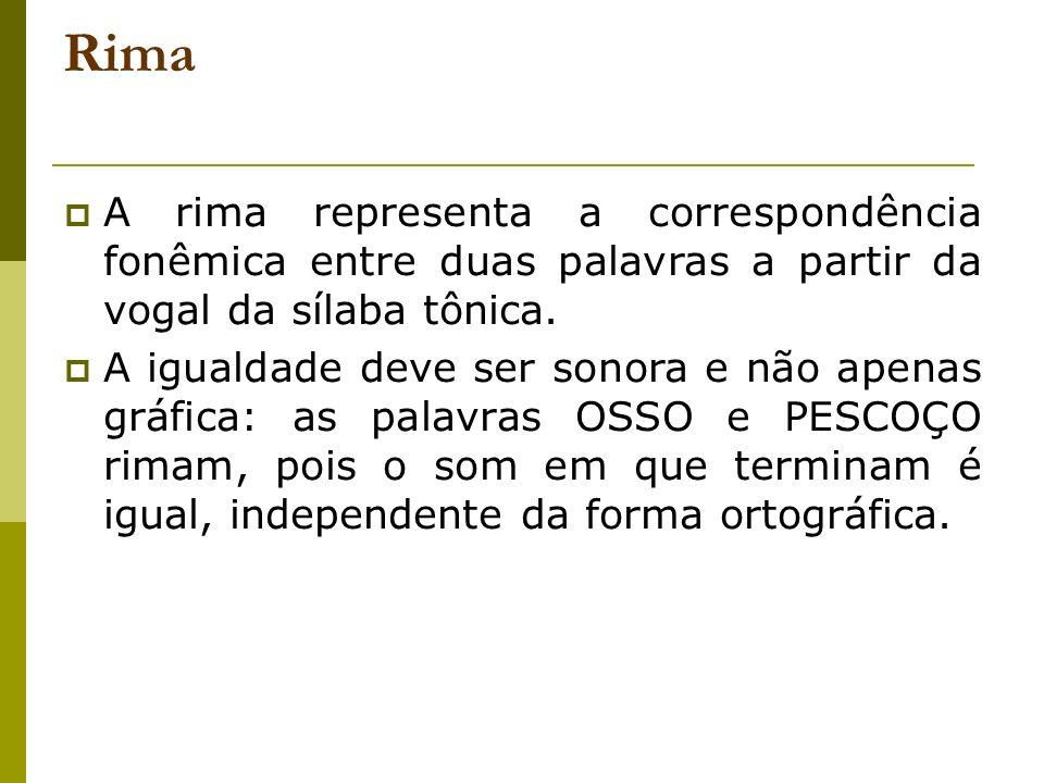 Rima A rima representa a correspondência fonêmica entre duas palavras a partir da vogal da sílaba tônica.