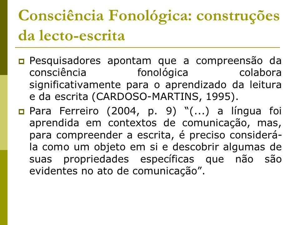 Consciência Fonológica: construções da lecto-escrita
