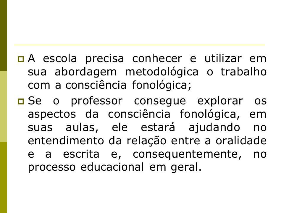 A escola precisa conhecer e utilizar em sua abordagem metodológica o trabalho com a consciência fonológica;