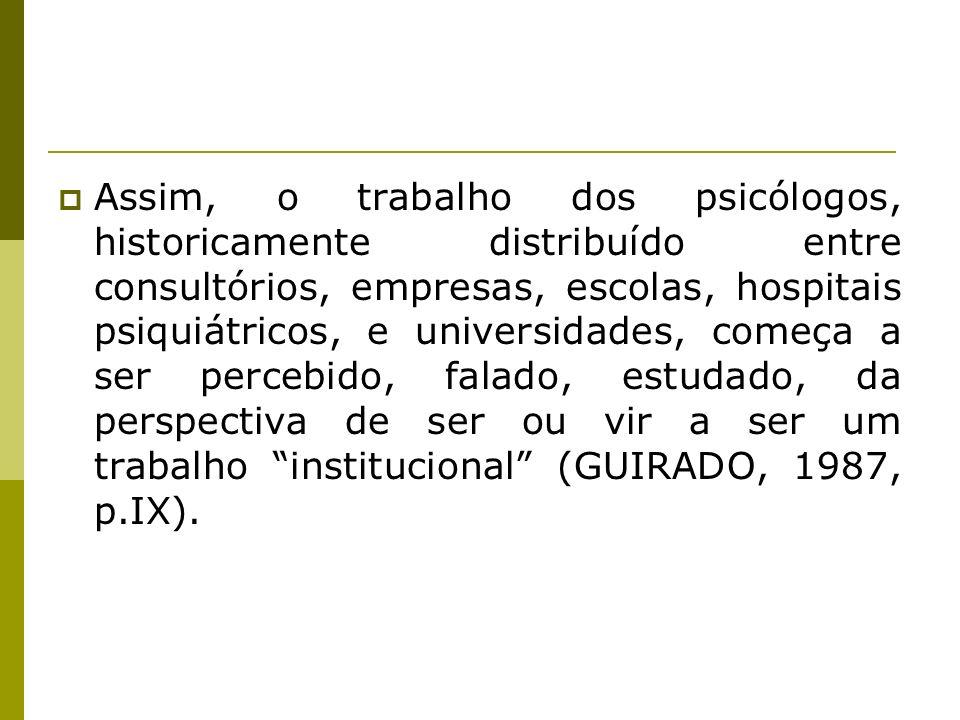Assim, o trabalho dos psicólogos, historicamente distribuído entre consultórios, empresas, escolas, hospitais psiquiátricos, e universidades, começa a ser percebido, falado, estudado, da perspectiva de ser ou vir a ser um trabalho institucional (GUIRADO, 1987, p.IX).