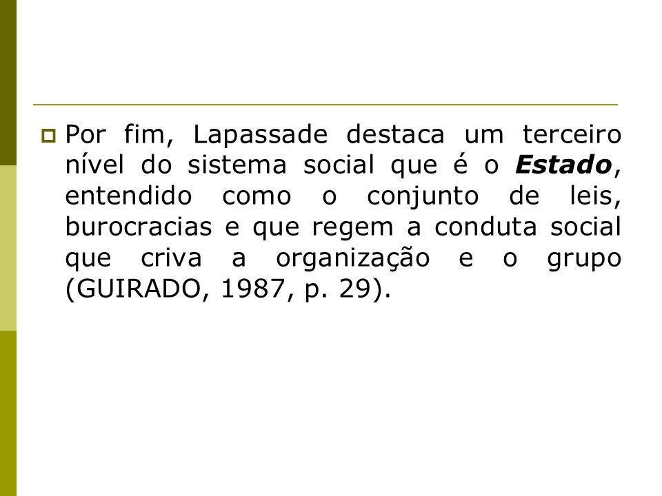 Por fim, Lapassade destaca um terceiro nível do sistema social que é o Estado, entendido como o conjunto de leis, burocracias e que regem a conduta social que criva a organização e o grupo (GUIRADO, 1987, p.