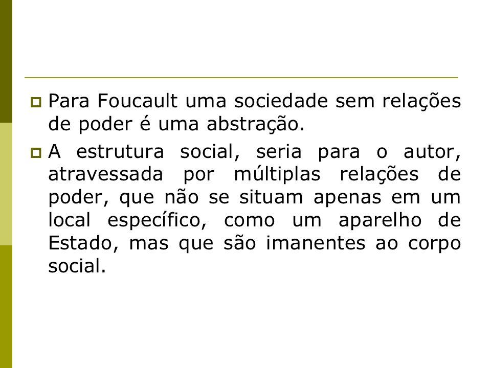 Para Foucault uma sociedade sem relações de poder é uma abstração.