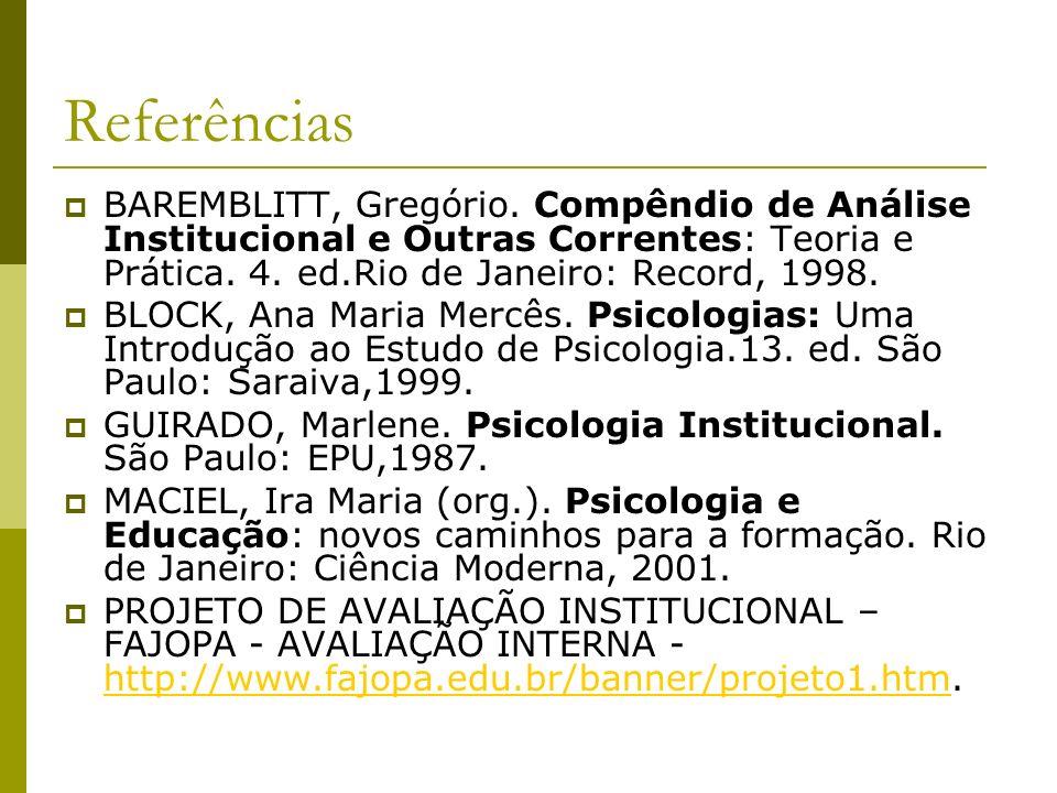 Referências BAREMBLITT, Gregório. Compêndio de Análise Institucional e Outras Correntes: Teoria e Prática. 4. ed.Rio de Janeiro: Record, 1998.