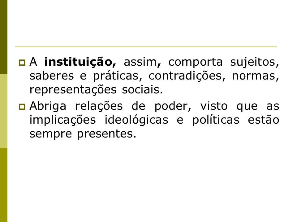 A instituição, assim, comporta sujeitos, saberes e práticas, contradições, normas, representações sociais.
