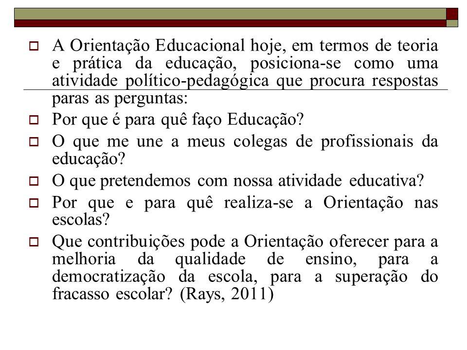 A Orientação Educacional hoje, em termos de teoria e prática da educação, posiciona-se como uma atividade político-pedagógica que procura respostas paras as perguntas: