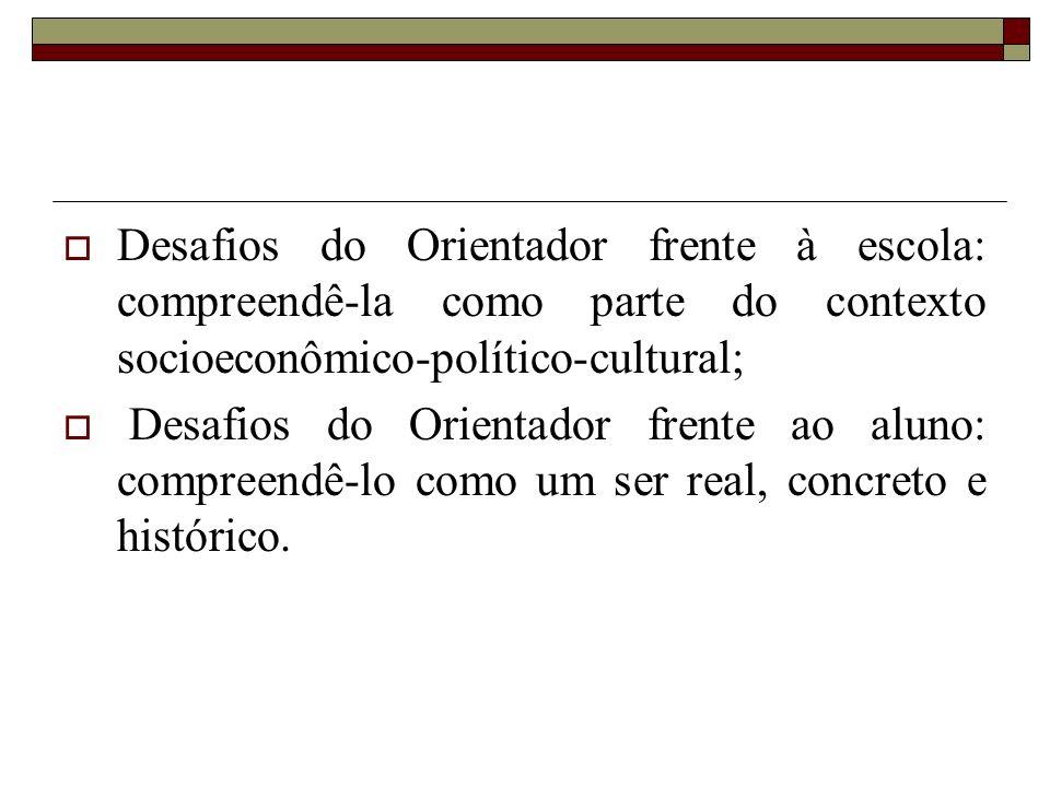 Desafios do Orientador frente à escola: compreendê-la como parte do contexto socioeconômico-político-cultural;