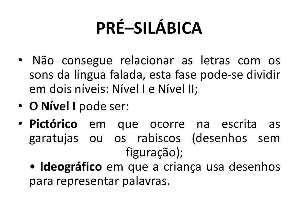 PRÉ–SILÁBICA Não consegue relacionar as letras com os sons da língua falada, esta fase pode-se dividir em dois níveis: Nível I e Nível II;