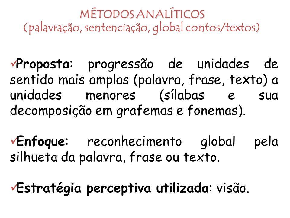 MÉTODOS ANALÍTICOS (palavração, sentenciação, global contos/textos)