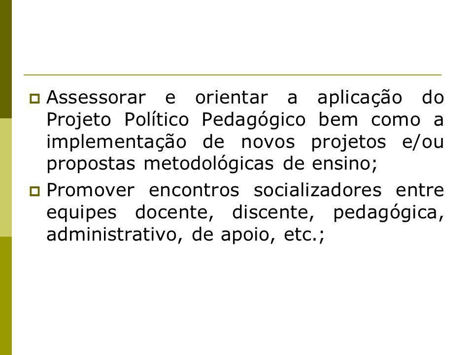 Assessorar e orientar a aplicação do Projeto Político Pedagógico bem como a implementação de novos projetos e/ou propostas metodológicas de ensino;