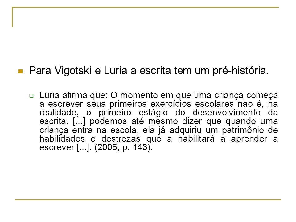 Para Vigotski e Luria a escrita tem um pré-história.