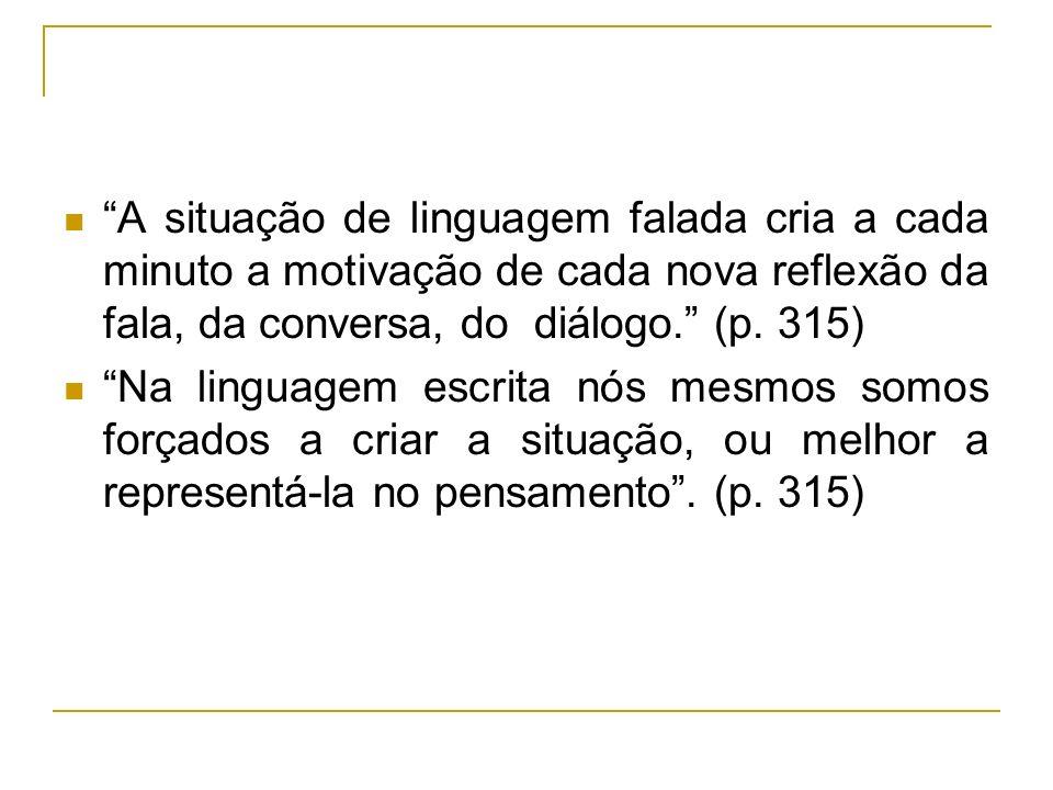 A situação de linguagem falada cria a cada minuto a motivação de cada nova reflexão da fala, da conversa, do diálogo. (p. 315)