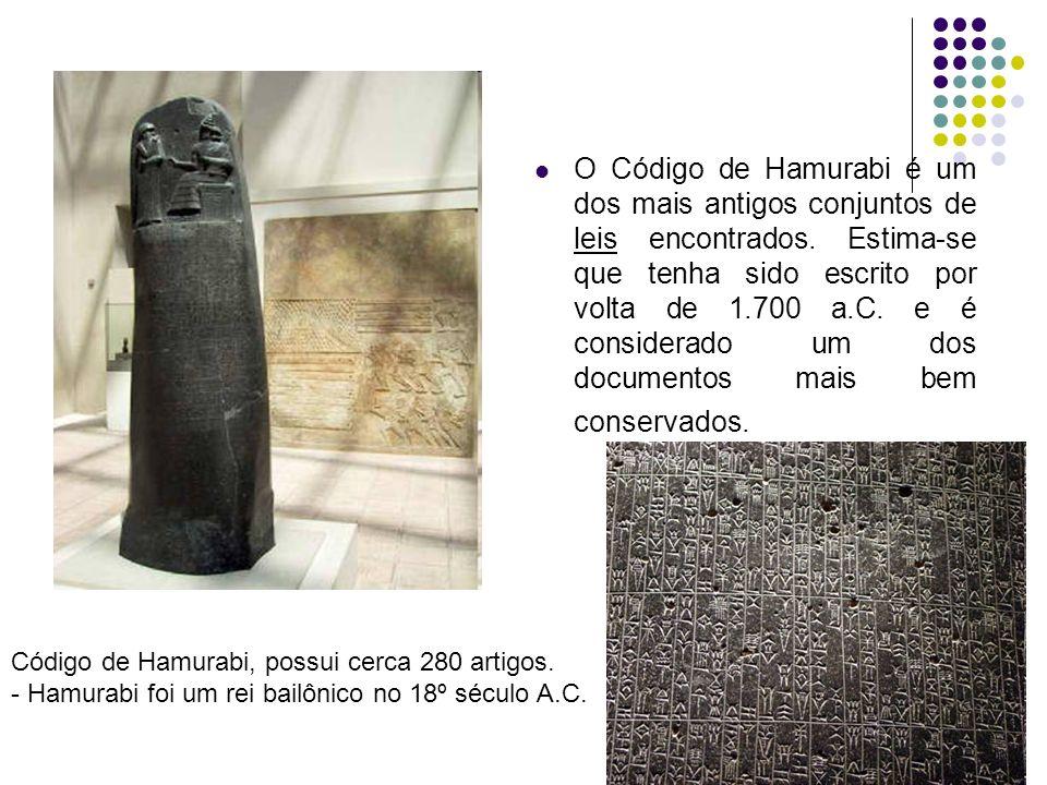 O Código de Hamurabi é um dos mais antigos conjuntos de leis encontrados. Estima-se que tenha sido escrito por volta de 1.700 a.C. e é considerado um dos documentos mais bem conservados.