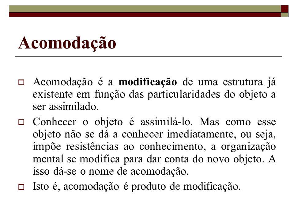 Acomodação Acomodação é a modificação de uma estrutura já existente em função das particularidades do objeto a ser assimilado.