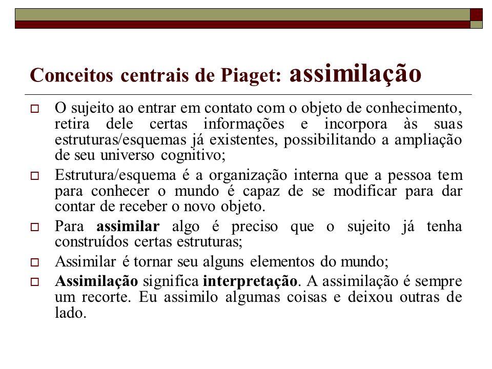 Conceitos centrais de Piaget: assimilação
