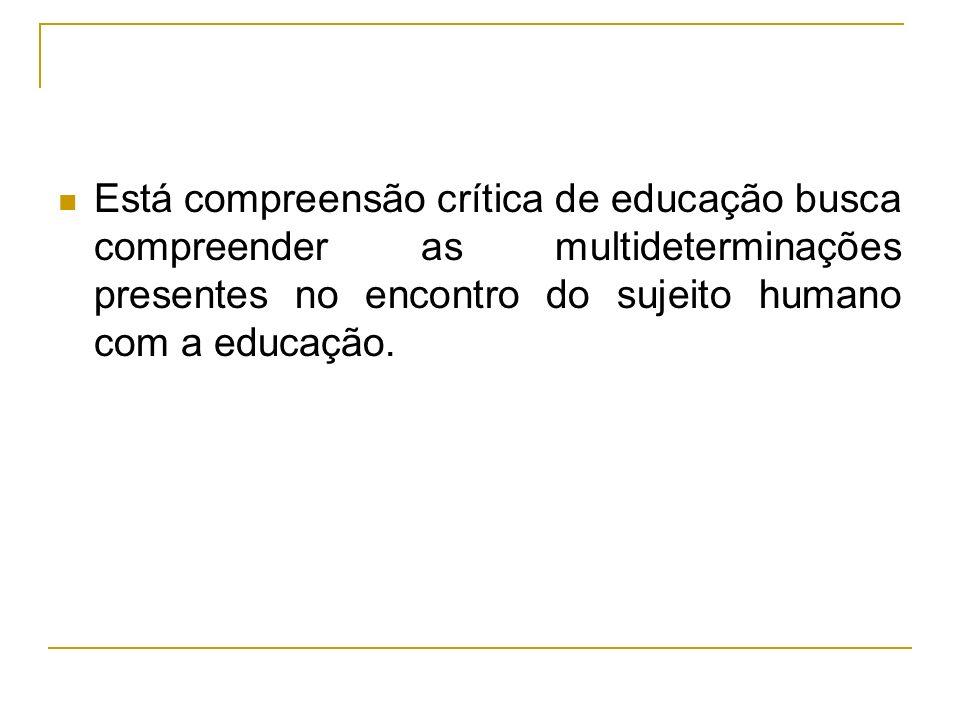 Está compreensão crítica de educação busca compreender as multideterminações presentes no encontro do sujeito humano com a educação.