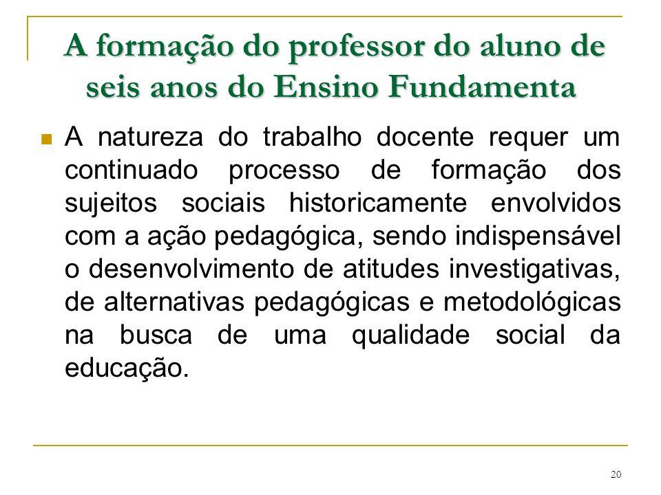 A formação do professor do aluno de seis anos do Ensino Fundamenta