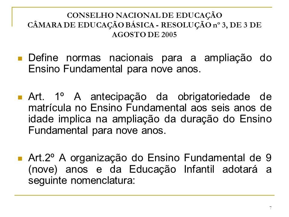 CONSELHO NACIONAL DE EDUCAÇÃO CÂMARA DE EDUCAÇÃO BÁSICA - RESOLUÇÃO nº 3, DE 3 DE AGOSTO DE 2005