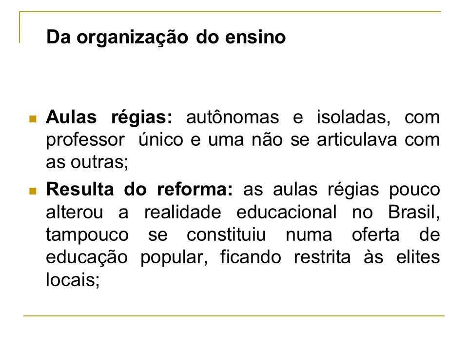 Da organização do ensino