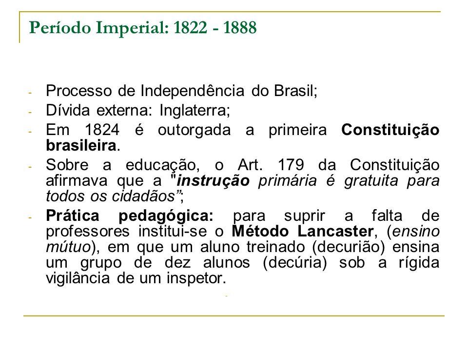 Período Imperial: 1822 - 1888 Processo de Independência do Brasil;