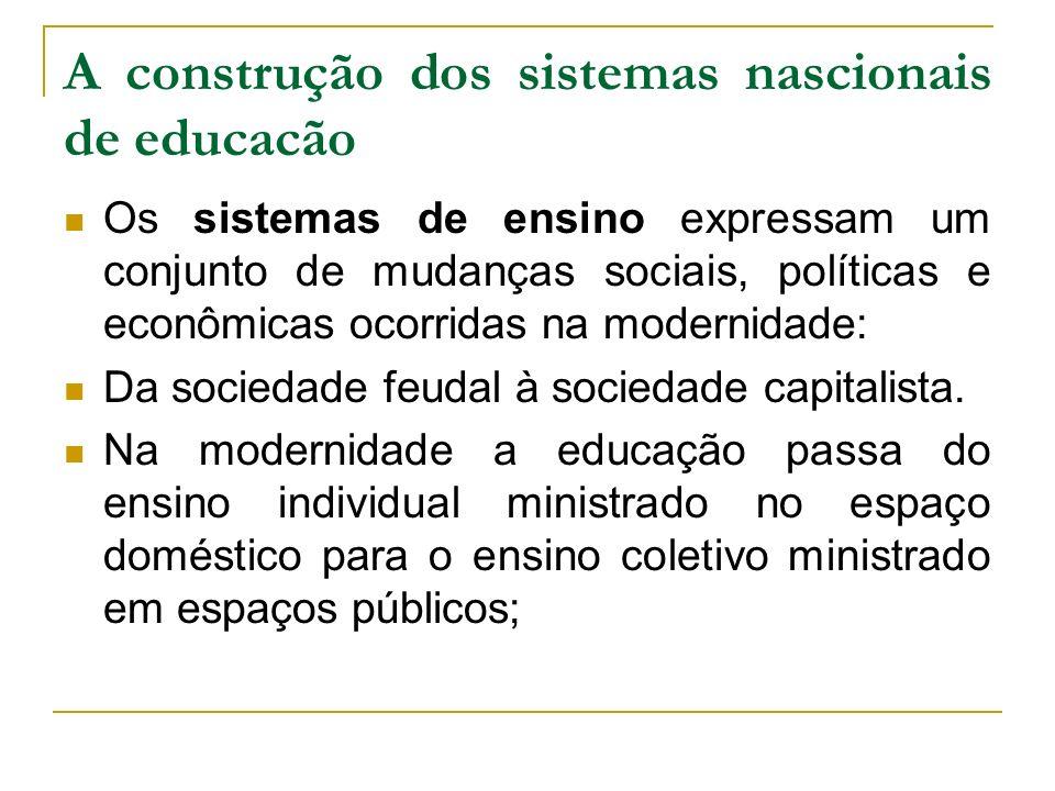 A construção dos sistemas nascionais de educacão