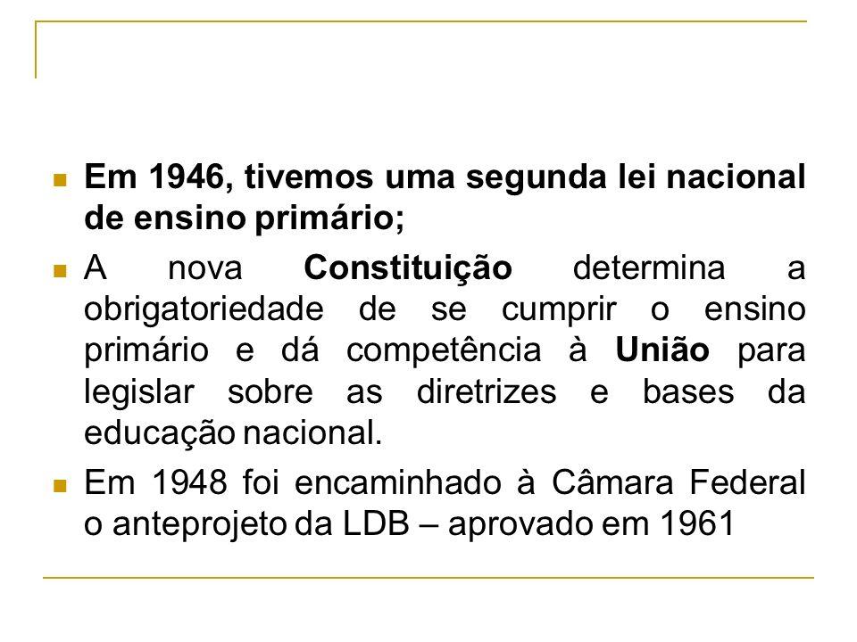 Em 1946, tivemos uma segunda lei nacional de ensino primário;
