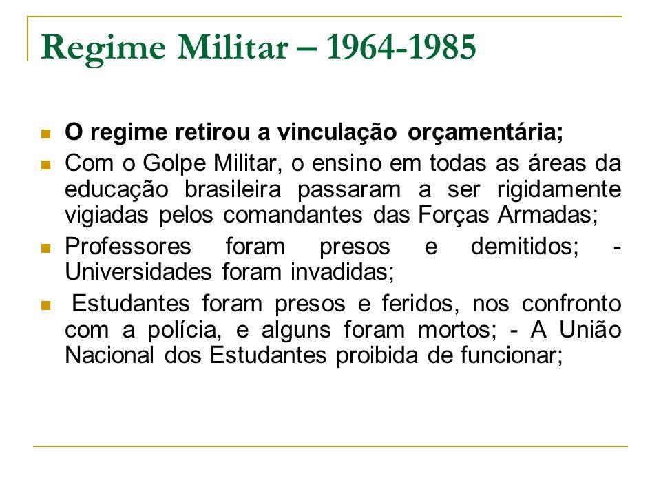 Regime Militar – 1964-1985 O regime retirou a vinculação orçamentária;