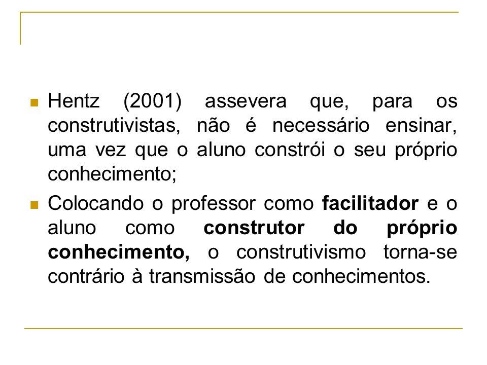 Hentz (2001) assevera que, para os construtivistas, não é necessário ensinar, uma vez que o aluno constrói o seu próprio conhecimento;